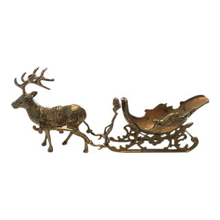 Vintage Solid Brass Reindeer and Sleigh Candy Dish