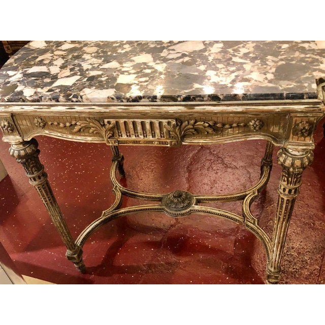 Louis XVI Style Distressed Paint Decorated 19th Century Marble Top Center Table For Sale - Image 4 of 12