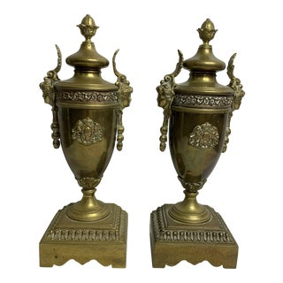 1940s Vintage Brass Urn Bookends - a Pair For Sale