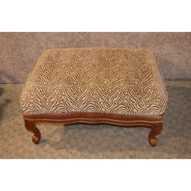 Ethan Allen Multi Fabric Oversized Chair & Ottoman For Sale - Image 9 of 13