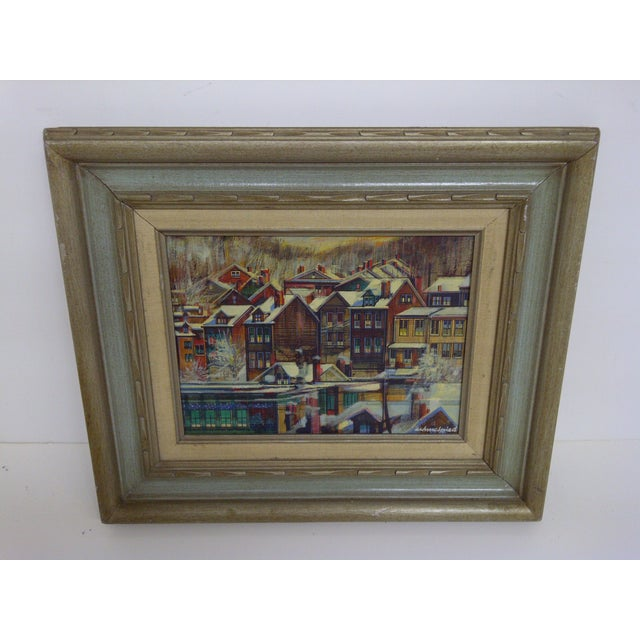 "Original Painting by Pittsburgh Artist, Robert Schmalzried. Titled ""Row Houses Pittsburgh."" Framed, no glass. Very good..."