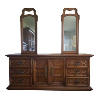 1970s Velero by Drexel Double Mirror Dresser Mid Century For Sale