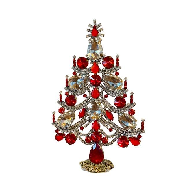 Traditional Czech Rhinestone Christmas Tree For Sale - Image 3 of 7