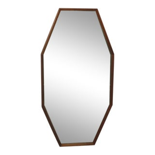 1960s Vintage Danish Modern Octagonal Shaped Floor Mirror With Beveled Glass For Sale