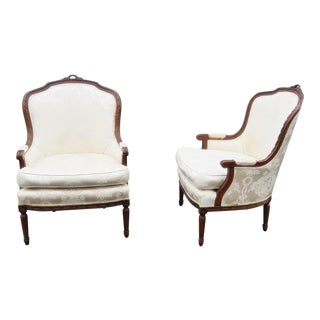 Pair of Louis XVI Style Bergeres For Sale
