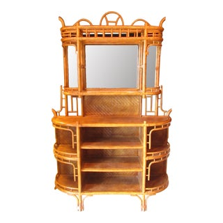 Woven Rattan & Wrapped Bamboo Shelving Unit With Mirrored Back