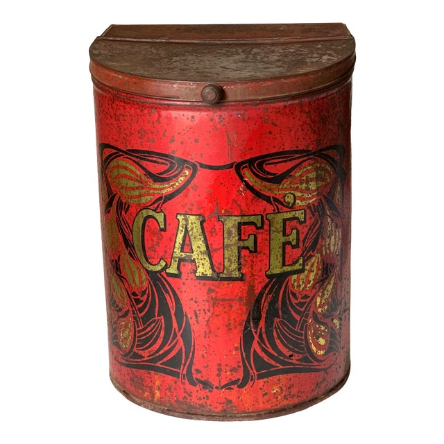 1920s Large French Country Store Coffee Tin For Sale
