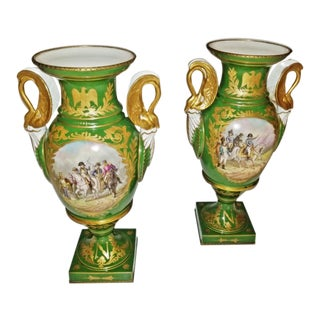 Pair of Early 19c Serves Porcelain Napoleonic Vases - Important For Sale