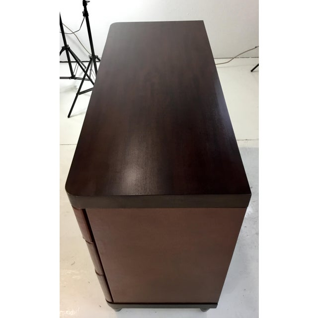 Modern Bungalow 5 Brown Leather and Wood Montclair Three Drawer Chest of Drawers For Sale In Atlanta - Image 6 of 8