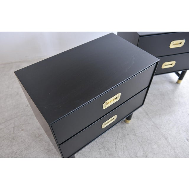 1960s Black Lacquer and Brass Campaign Nightstands - a Pair For Sale In Los Angeles - Image 6 of 11