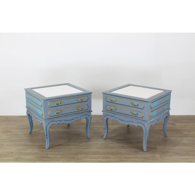 Mid-Century French Provincial Nightstands, a Pair - Vintage Nightstands - Gray Nightstands - Shabby Chic Nightstand - Blue Nightstans For Sale - Image 9 of 9