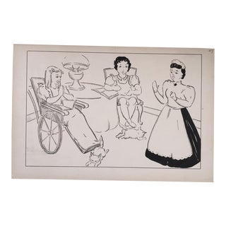 """Vintage """"Heidi - The Housekeeper Says No"""" Pen and Ink Drawing For Sale"""