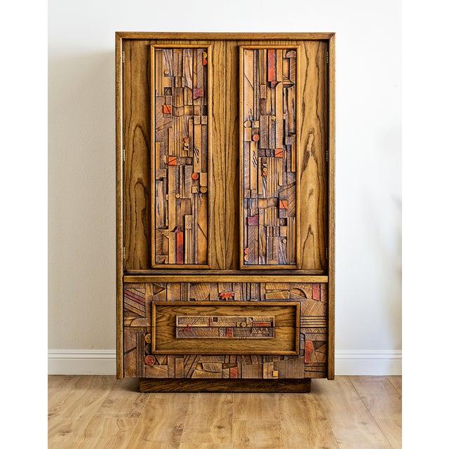 "1970s Lane ""Pueblo"" Brutalist Armoire Dresser For Sale In Las Vegas - Image 6 of 6"