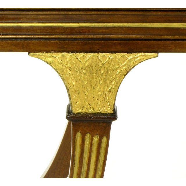Gold Early 1900s Parcel-Gilt and Walnut Empire Coffee Table With Gold Mirror Top For Sale - Image 8 of 9
