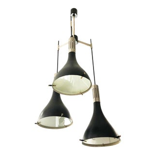 Italian Mid-Century Three Light Cluster Chandelier Attributed to Stilnovo For Sale