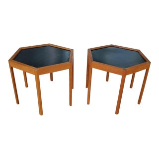 Hans Andersen Mid-Century Modern Danish Modern Hexagonal Artex Side Tables - a Pair For Sale