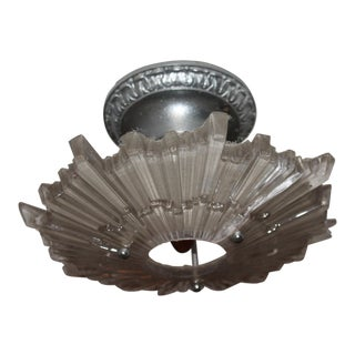 1920s Art Deco Period Crystal Starburst Shaded / Nickel Ceiling Fixture For Sale