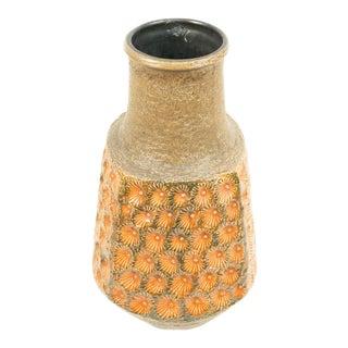 Post-War West Germany Green and Orange Ceramic Vase For Sale