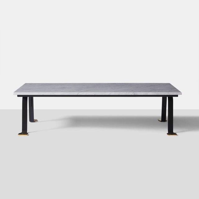 Aurelio Bolognesi Italian Carrara Marble-Top Coffee Table For Sale - Image 4 of 7