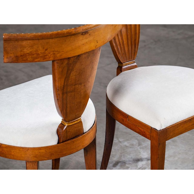 Empire Antique 1890s Italian Empire Walnut Neoclassical Chairs - a Pair For Sale - Image 3 of 13