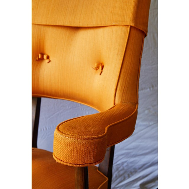 Wood Early 20th Century Mahogany Arm Chair in Vintage Orange Upholstery For Sale - Image 7 of 13