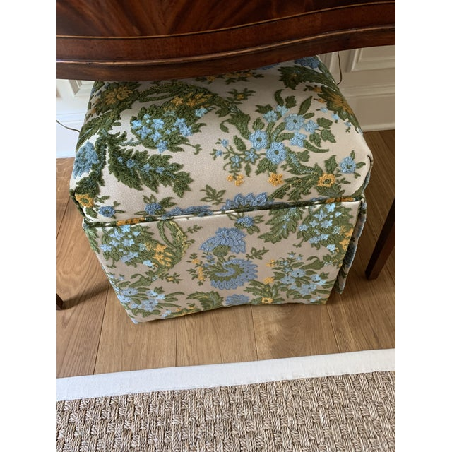 Green Vintage Mid Century Skirted Parsons Stool For Sale - Image 8 of 10