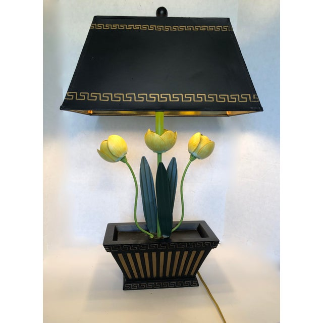 Vintage Painted Tole Italian Floral Lamp For Sale - Image 4 of 9