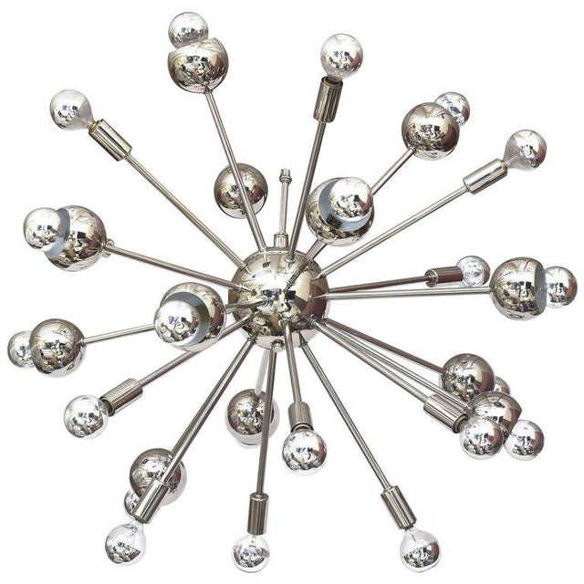 Nickel Silver 24 Bulb Sputnik Vintage Chandelier For Sale - Image 10 of 10