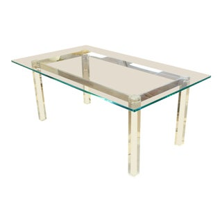 1970s Mid-Century Modern Hollis Jones Glass & Lucite Chrome Dining Table For Sale