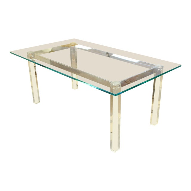1970s Mid-Century Modern Hollis Jones Glass & Lucite Chrome Dining Table For Sale