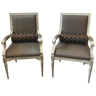 Vintage Mid Century Painted Walnut Louis XVI Style Armchairs- A Pair For Sale