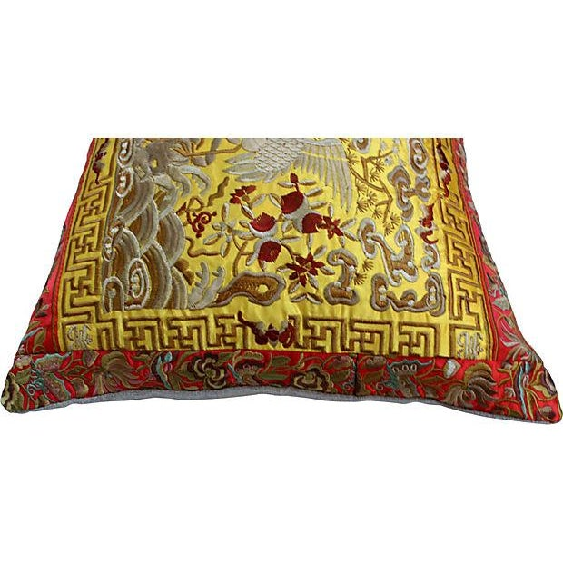 Gold Embroidered Silk Boudoir Pillow - Image 2 of 4