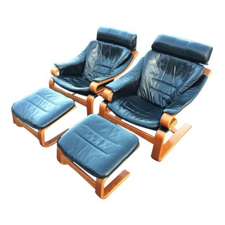 Danish Modern Leather Lounge Chairs & Ottomans - A Pair