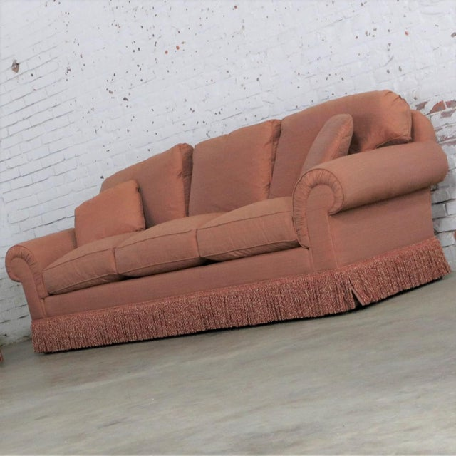 Beautiful Baker Furniture Lawson style sofa from their Crown and Tulip Collection in a gorgeous terracotta / peach / coral...