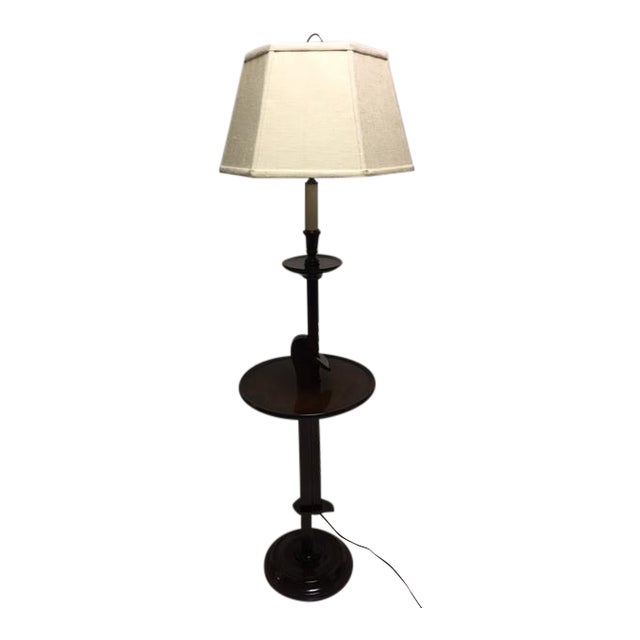 Vintage Ratchet Arm Wood Floor Lamp With Table For Sale