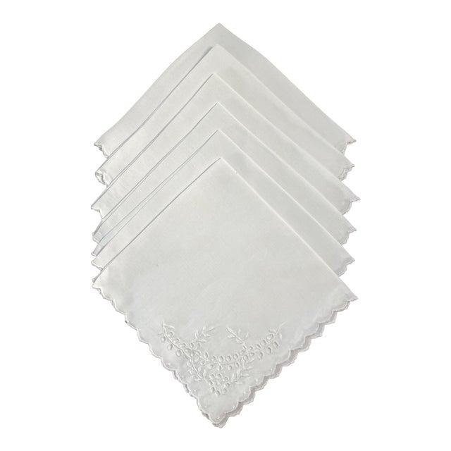 Vintage White Linen Embroidered Napkins- Set of 6 For Sale