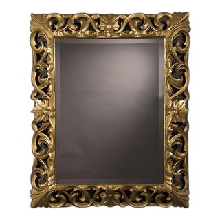 19th Century French Baroque Style Gold Leaf Framed Beveled Mirror For Sale