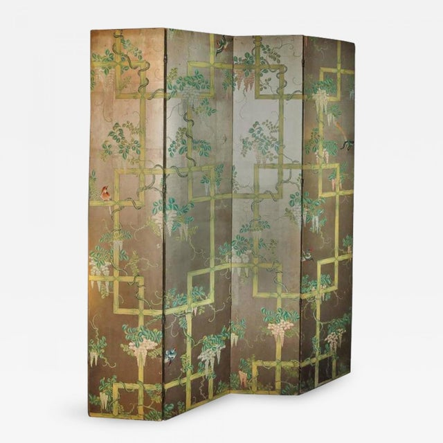 19th Century Four - Panel Painted Screen of Birds and Bamboo For Sale - Image 9 of 9