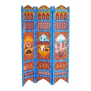 Moroccan Blue 3 Panel Screen For Sale