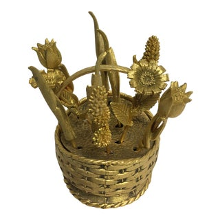 Hors D'oeuvres Sticks in Gold Woven Basket For Sale