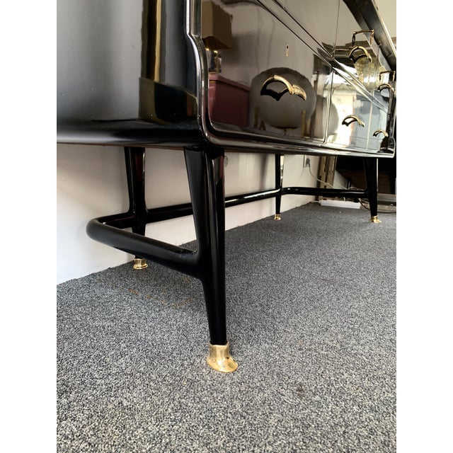 Black Lacquered Sideboard and Brass by Vittorio Dassi, Italy, 1950s For Sale - Image 10 of 13