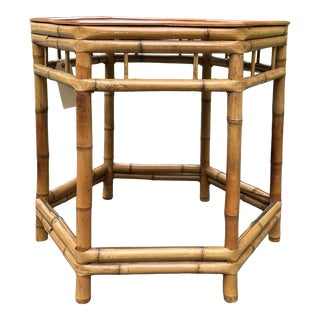 Vintage Bamboo Octagonal Side Table For Sale