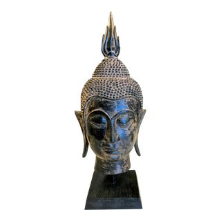 20th Century Asian Iron Buddha Head For Sale