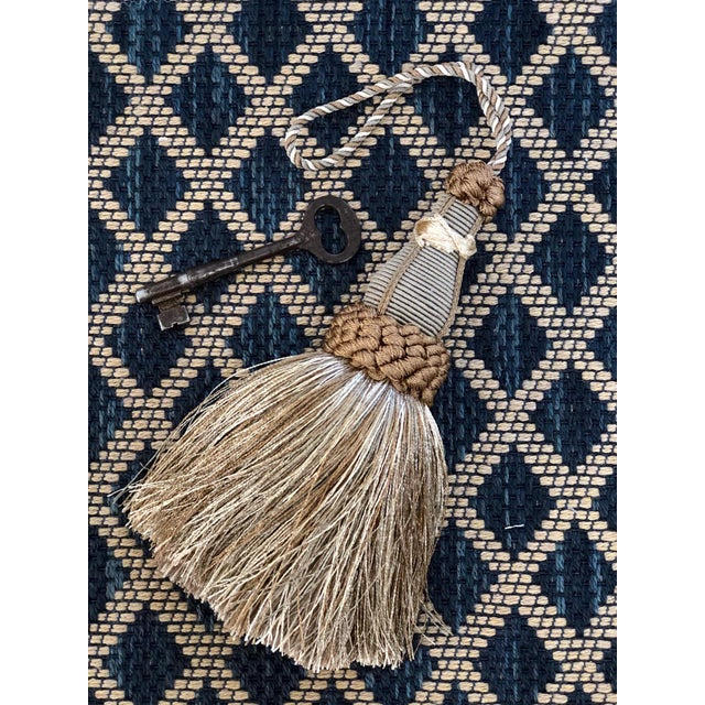 Textile Key Tassels in Khaki and Bronze With Ruche Trim - a Pair For Sale - Image 7 of 12