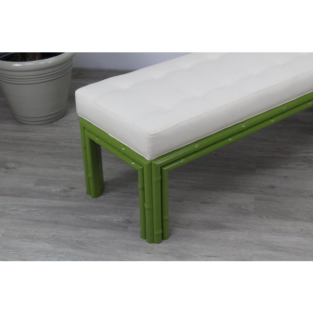 Mid-Century Apple Green Faux Bamboo Bench For Sale - Image 4 of 9