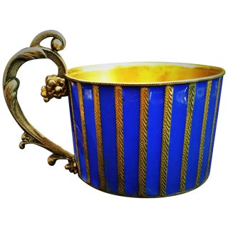 Austrian Jugenstil Gilded Silver and Enamel Tea Glass Holder, Circa 1900 For Sale