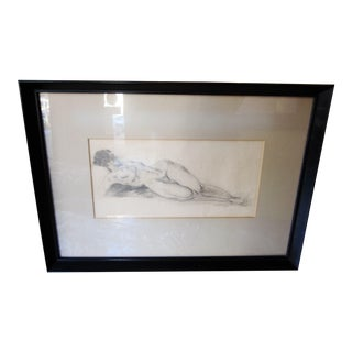 Vintage 1930s Art Deco Nude Portrait Life Figure Pencil Drawing Signed and Framed For Sale