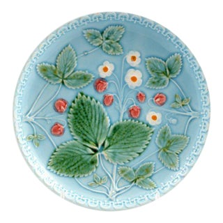 Early 20th Century Vintage Majolica Berry Plate, Marked G Zell S Germany For Sale