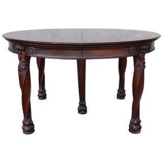 Art Nouveau Round Banquet Dining Table After Majorelle For Sale