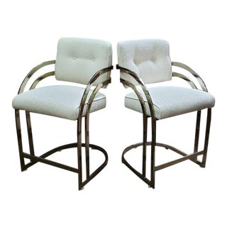 Pair of Vintage Chrome & Chamonix Upholstered Bar Seats C.1980s For Sale